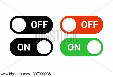 Switch Off On Button Toggle Digital Turn Icon. On Off Slider Activate Vector Mobile App Ui