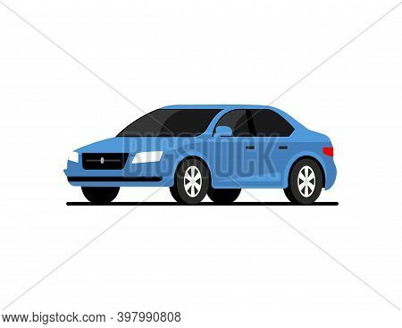 Car Side Vector Flat Icon. Car Profile Side View Cartoon Icon Design Isolated Blue Vehicle
