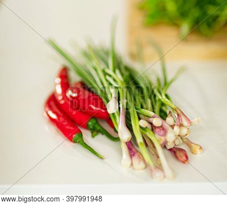 Herbs. Green onion, chili pepper on a board