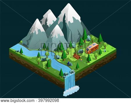 Isometric Camping Landscape On The River Bank. Tents, Bonfire On The River. Vacation And Holiday Con