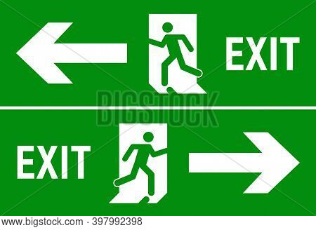 Emergency Fire Exit Sign. Evacuation Fire Escape Door Vector Sign Pictogram Arrow Exit Route