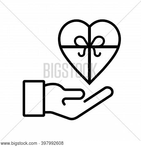 Gift In The Form Of Heart On The Palm Icon , Love, Kindness, Care. Donation Concept. Can Be Used For