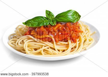 Spaghetti Bolognese, Top View / Spaghetti Italian Pasta Served On Plates With Tomato Sauce