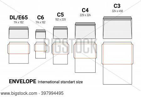 Envelope Diecut Template Size A4 A5 A10. Envelop Dimensions Paper Internation Mockup