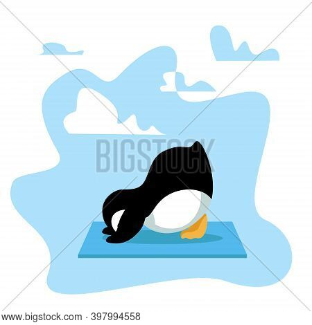 Cute Cartoon Penguin Is Dong Downward Facing Dog Pose. This Inverted Yoga Asana Allows To Feel Your