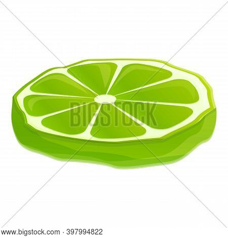 Bergamot Cutted Slice Icon. Cartoon Of Bergamot Cutted Slice Vector Icon For Web Design Isolated On