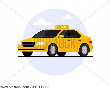 Taxi Car Flat Cab Vector Transport. Taxi Side View Yellow Cartoon Concept