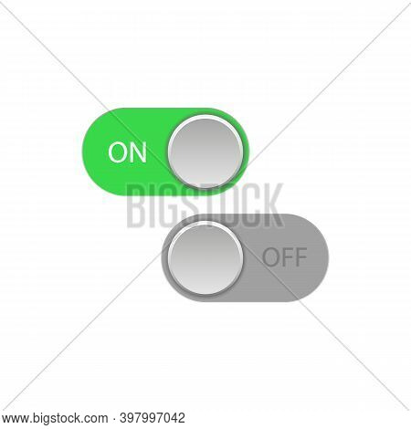 On And Off Green Toggle Switch Slider Buttons.vector Illustration
