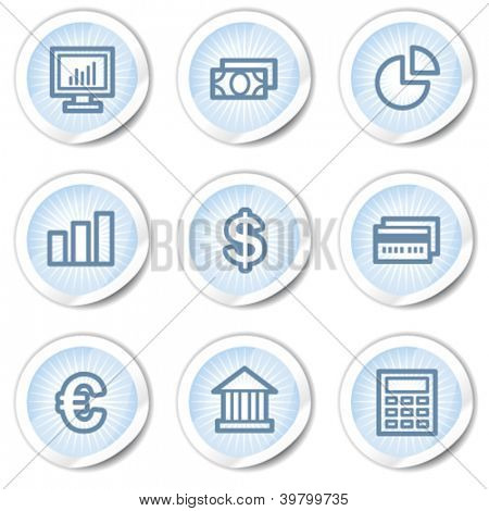 Finance web icons set 1, light blue stickers