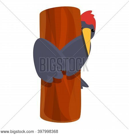 Woodpecker Wood Tree Icon. Cartoon Of Woodpecker Wood Tree Vector Icon For Web Design Isolated On Wh