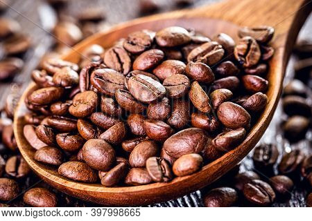 Coffee Beans On Roasted Arabica Beans, Organic, Grown In Brazil. Concept Of Export Type Product, Agr