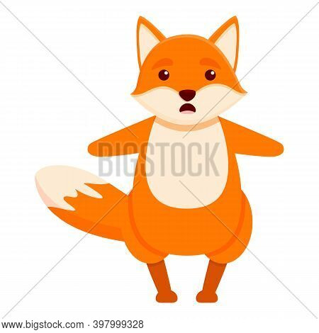 Scared Fox Icon. Cartoon Of Scared Fox Vector Icon For Web Design Isolated On White Background