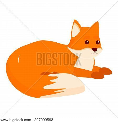 Resting Fox Icon. Cartoon Of Resting Fox Vector Icon For Web Design Isolated On White Background