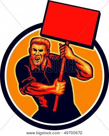 Protester Activist Union Worker Placard Sign Retro