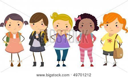 Stickman Illustration Featuring a Group of Young Female Bullies