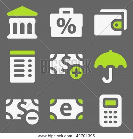 Finance web icons set 2, white and green on grey
