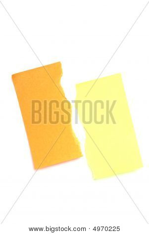 Torn Yellow And Orange Postits.
