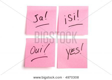 Four Pink Postits In Various Languages