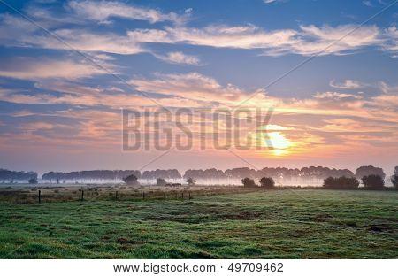 Summer Sunrise Over Pastoral