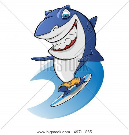 sympathetic shark surfing on a wave vector poster