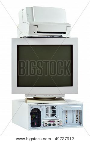 Obsolete Pc Computer, Printer And Crt Monitor