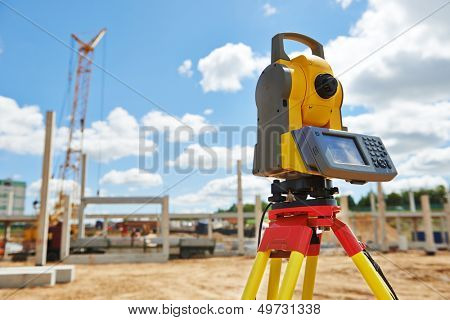 Surveyor equipment theodolite outdoors at construction site