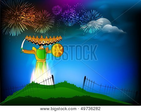 Indian festival Dussehra background with illustration of Ravana with his ten heads in fireworks night background.