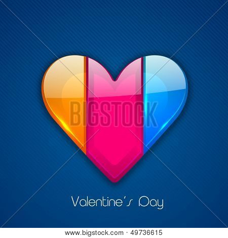 Happy Valentines Day concept with colorful glossy heart on blue background.