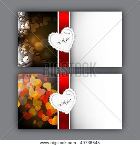 Happy Valentines Day greeting card or gift card with heart shapes.