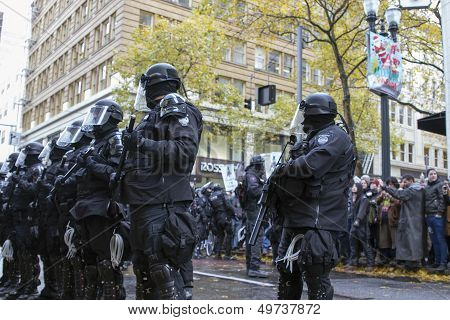 Multnomah County Sheriff In Riot Gear During Occupy Portland 2011 Protest