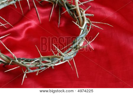 Crown On Thorns On Red Satin