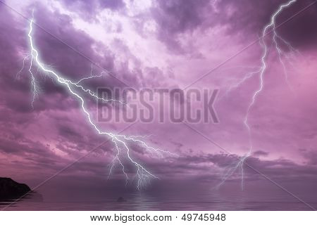 Flash lightning over the ocean