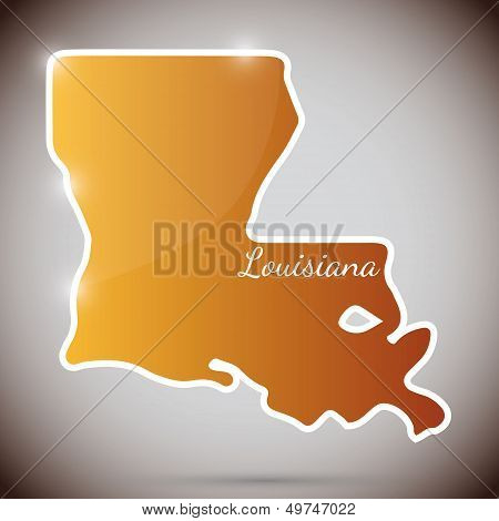 vintage sticker in form of Louisiana state, USA