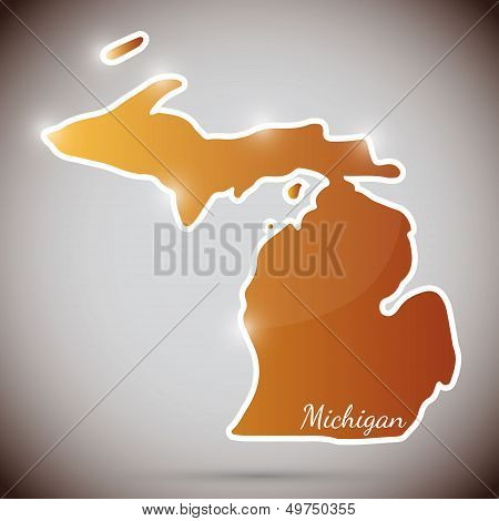 vintage sticker in form of Michigan state, USA