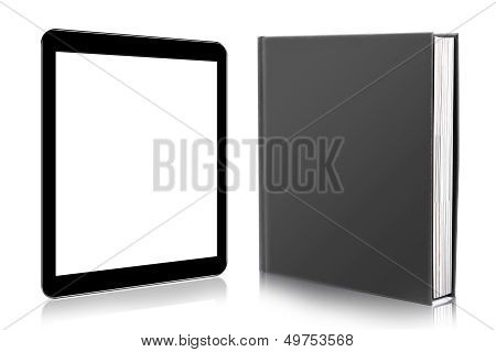 E-book Reader. Book And Digital Tablet