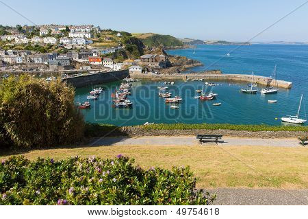 Mevagissey harbour Cornwall England blue sea and sky on a beautiful summer day poster