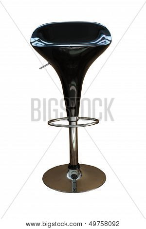 The Single Chair Black Color On White Isolate Background.