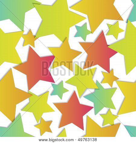 Seamless Vector Stars Over White