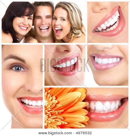 Man and woman smiles. Over white background poster