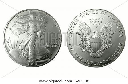 american silver dollar of 1990. isolated on white poster