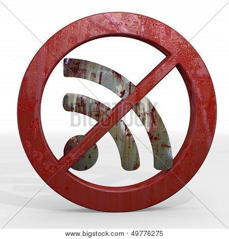 3D Render Of A Isolated Wifi Sign Not Allowed