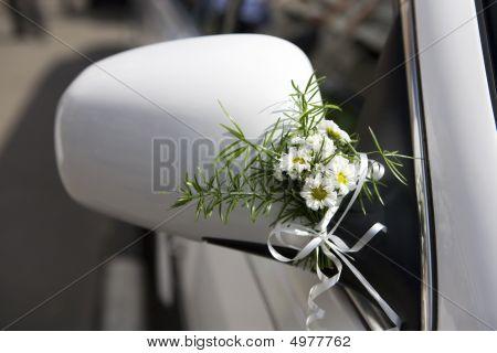 Decoration Of Wedding  Limousine. Bouquet  Camomile.