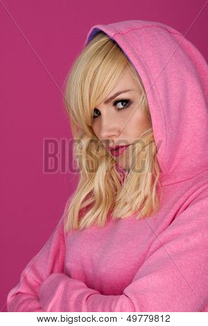 Woman in pink.