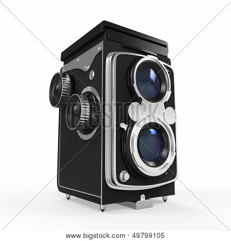 Old Twin Lens Camera isolated on white background. 3D render poster