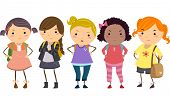 Stickman Illustration Featuring a Group of Young Female Bullies poster