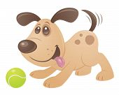Vector cartoon style drawing of a puppy playing with a tennis ball. poster