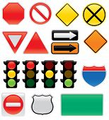 A collection of vector traffic signs and symbols. Great for use on maps or to convey traffic related messages. Included are a stop sign yield sign traffic lights interstate and highway signs one way sign detour sign construction sign railroad sign do not poster