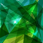 Trendy green and blue transparent triangles abstract background illustration. EPS10 vector with transparency organized in layers for easy editing. poster