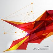 Modern red and yellow network transparent triangles abstract background illustration. EPS10 vector with transparency organized in layers for easy editing. poster