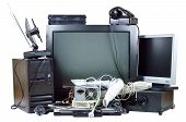 Old and used electric home waste. Obsolete pc computer telephone CRT monitor DVD. poster